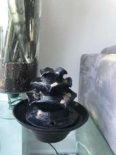 Black rose indoor fountain with flickering blue LED light