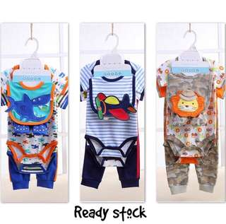 5 in 1 baby gift set, romper pant bibs stockings baby boy set