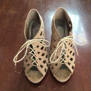 St Matthews Nude Suede Lace Up Stilettos