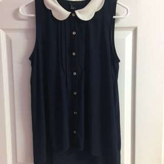 Forever 21 Navy Peter Pan Collar Blouse