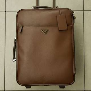 Prada Full Leather Cabin Size Trolley Luggage