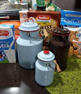 Vintage milk jars