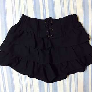 Black Ruffled Mini Skirt