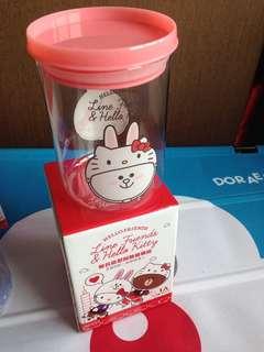 🚚 Hello Kitty X Line Friends 經典聯名造型 耐熱玻璃罐 限定收藏