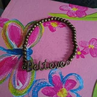 """Believe銅色手鏈* 珠鏈 """"believe""""word bracelet"""