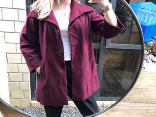 Dangerfield maroon pea coat