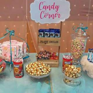 Hi We are Specialize In Kids Candy Corner @ Wedding & other Occassion Like Birthday..come With package Kids Candy Corner & Include 5 Items Of Kids Snacks  For 200pax @$400