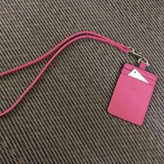 Coach pink saffiano pu leather lanyard