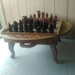 Wooden crafting chess set