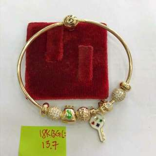 Pandora inspired bracelet 18k saudi gold