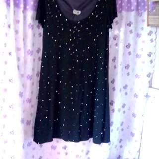 Beaded black mini dress