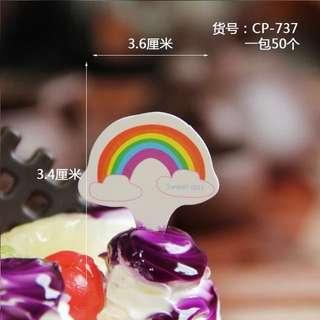 Colourful Rainbow Cupcake / Cake / Dessert Topper
