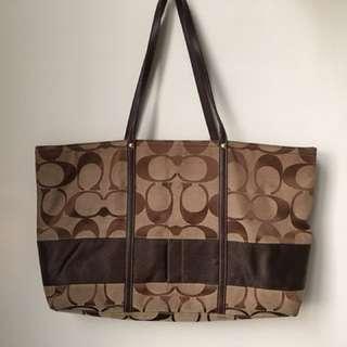 二手 coach咖啡色肩背包 手提包 可當媽媽包