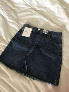 Denim Ulzzang Basic A Line Skirt Medium Blue