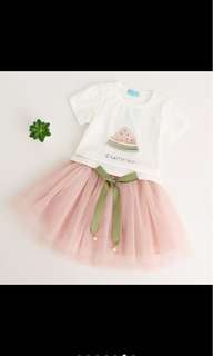 Kid girl top skirt tutu set infant toddler