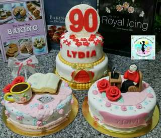 Set of 3 Customized Fondant Cakes (design could be modified based on party theme)