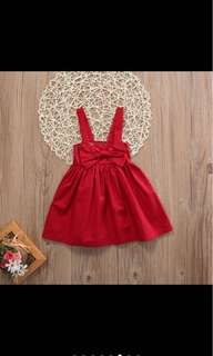 Baby Girl Dress red ribbon infant toddler kids skirt