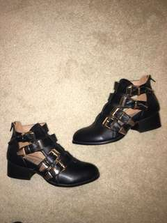 Gold Buckle Black Boots Size 9