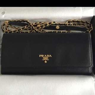 Prada Saffiano Metal Bi-fold Long Wallet with Chain