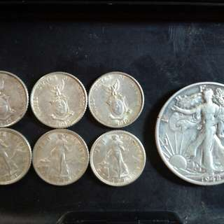 Uncirculated 10c Commonwealth silver coin and Half dollar walking liberty silver coin