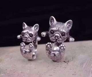 2018狗年可爱小狗戒指, 純銀, 重約8.4克