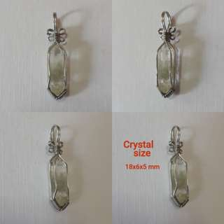 🌵Very nice twin pointer double terminated, Natural Chlorine quartz pendant(天然绿幽灵吊坠). Wrap in Silver plated copper wire.