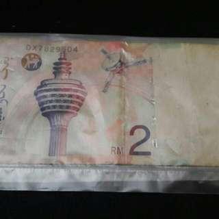 Wang kertas RM2 sangat Jarang