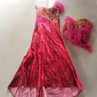 LONG ELEGANT FUSCHIA DRESS