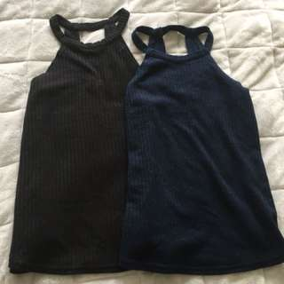 Blue and Black tops Size 8