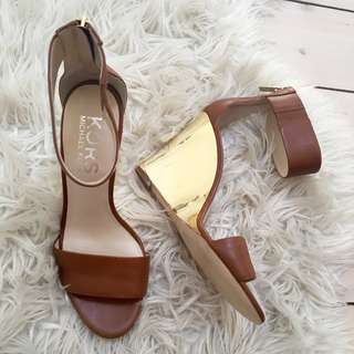Michael Kors Leather, Gold Wedge Shoes Size 40-  Brand New