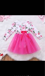 Baby girl tutu long sleeved flower dress skirt infant newborn toddler kid