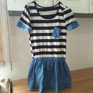 Baju/Mini Dress Strip + Jeans