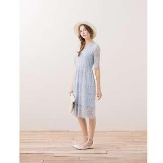 全新轉賣-PAZZO-優雅圓圈睫毛蕾絲微透肌感短袖洋裝/長洋裝