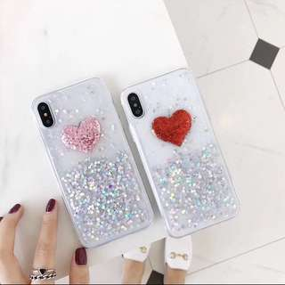 iPhone X - Glittery Transparent Heart Silicone Casing