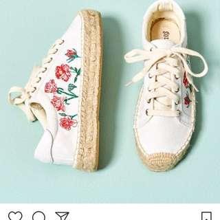 🚚 Soludos rose platform sneaker 玫瑰刺繡厚底鞋