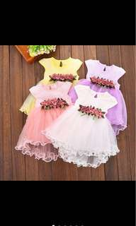 Baby girl kid tutu dress skirt summer flower wedding party infant toddler