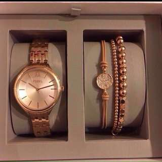 Fossil watch set with quartz watch white