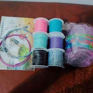 補夢網 材料 棉繩 毛線 臘繩 全部一起售 皆為二手 使用狀況如圖