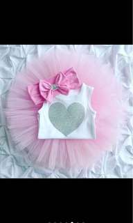 3 pcs set baby girl infant toddler newborn tutu skirt top headband set