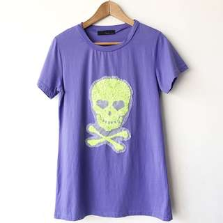 Purple with sequin lime skull t shirt