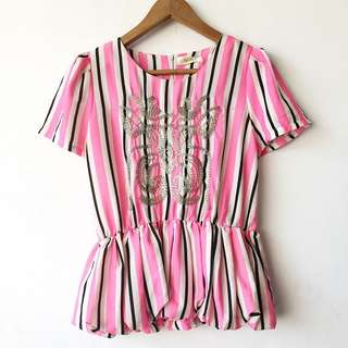 Stripe and embroidered peplum blouse
