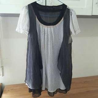 Baju/Atasan Sifon Hitam Putih