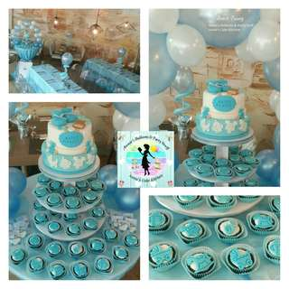 Baptismal Party Package for Baby Boy: Cake, Cupcakes, and Balloons