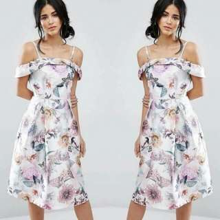 🎀Elegant Floral Dress👗 📌Off shoulder,Sexy back 📌Silky cotton fabric,soft comfy 📌Freesize fits up to large frame