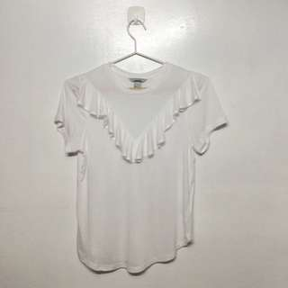 H&M White Ruffled Top
