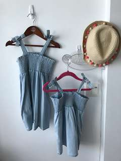 Matching Mother, Sisters and daughters (9-24months and 2-4years old) Denim Dresses