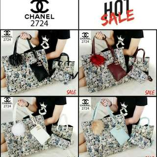 PROMO* *Harga : 250.000  CH*N*L Borse Runway 4in1 Quilted Shooping TOTE Prints leather Free Pom Pom 2724  (04)*