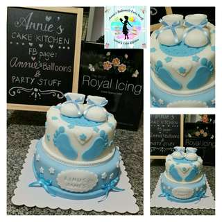 Two-Layer Baptismal Fondant Cake