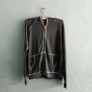 Sweater Hoodie Free Style Hitam Size M Fit L