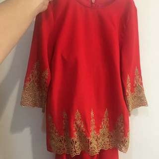Baju Kurung Moden red colour 2Y (10/10)